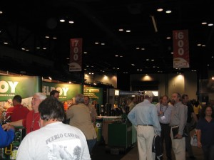 A crowd formed outside of McElroy Manufacturing's booth #625 in the middle of the hall--and close to one of the bartenders.