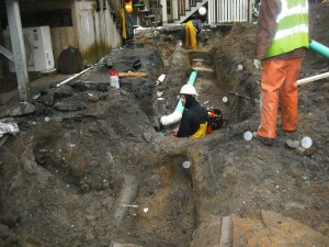 Typical six-inch service lateral being replaced by open-cut excavation.