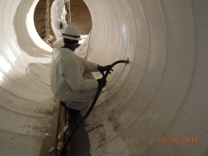 Grouting the first lift of the south 84-inch pipe section.