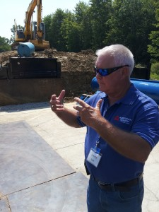Jim Lee explains auger boring operations at a recent customer event.
