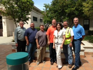 The Covina project team included  (from left to right): Ray Wellington, Willdan Design Consulting Engineering Firm; Ron Hadloc, city of Covina inspector; Rob Morrow, Mocon (pipe bursting sub-contractor); John Gavigan, Vasilj (general contractor); Kalieh Honish, city of Covina director of public works; Barry Knutson, Willdan (consultant inspector); and George Mallakis, regional manager, TT Technologies Inc. (pipe bursting equipment manufacturer).