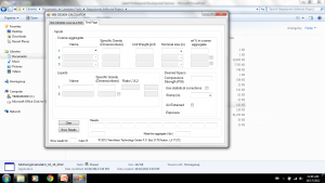 Figure 2. A screen of a custom geopolymer mix design software developed by the TTC.