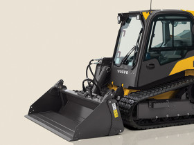 The Volvo MCT110C is a radial lift compact track loader with a 2,250-pound rated operating capacity.