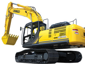 Kobelco's SK350LC is a robust 82,200-pound machine.