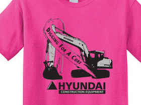 In support of Breast Cancer Awareness Month in October, Hyundai Construction Equipment Americas began to sell custom pink shirts and wristbands