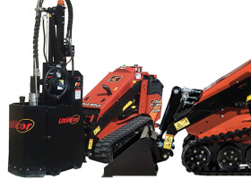 Ditch Witch's new mini skid steer SK752 and Utilicor's MC-450 Minicor Coring Attachment fits skid steers as well as Ditch Witch SK 850.