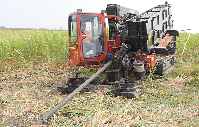 A Ditch Witch JT100 All Terrain (AT) directional drill was used in Barbados.